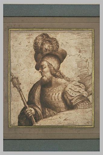 Un guerrier, de profil, tenant un bâton de commandement