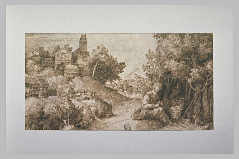 Paysage avec deux hommes assis près d'un taillis