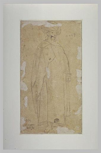 Un oriental debout, de trois quarts à gauche, coiffé d'un turban