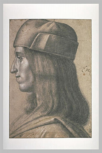 Portrait d'homme, coiffé d'un bonnet, de profil