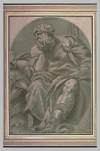 Une jeune femme et un homme agé, assis : la Jeunesse et la Vieillesse