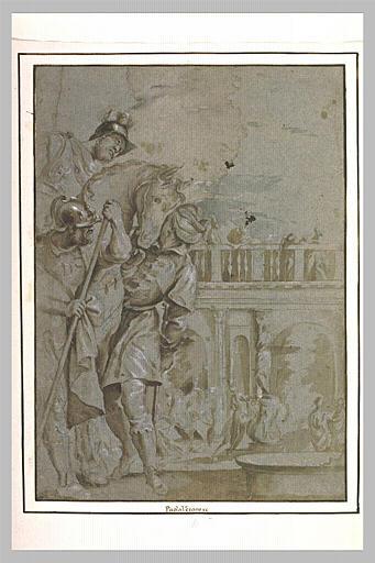 Un cavalier entre deux hommes devant une place_0
