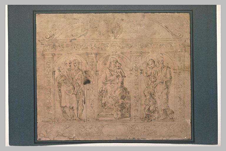 Décoration d'un autel : Vierge à l'Enfant et des saints dans des niches