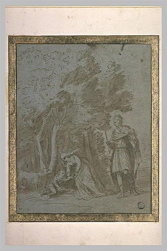 Un homme armé d'une épée regarde une femme qui se penche sur un enfant