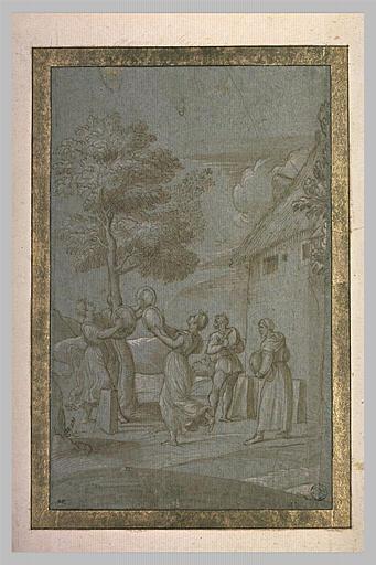 Quatre femmes et un homme autour d'un arbre où vole un essain d'abeilles