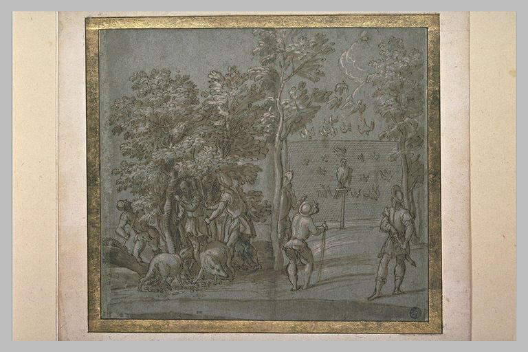 Une chasse à l'oiseau et six hommes et des pourceaux sous des chênes