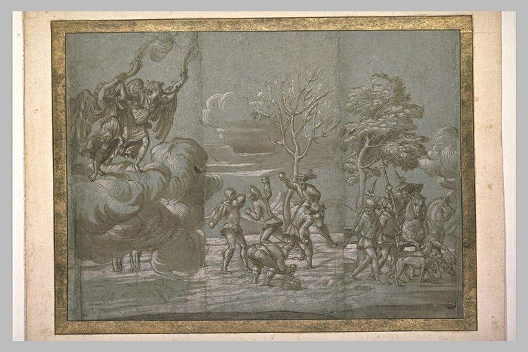 Deux anges ; scène d'hiver ; deux cavaliers et deux hommes armés