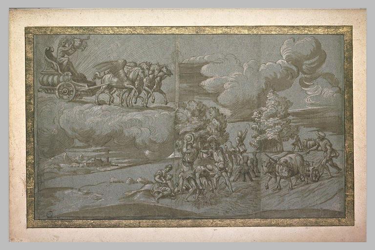 Char du soleil et Apollon ; scène de moisson ; scène de labour