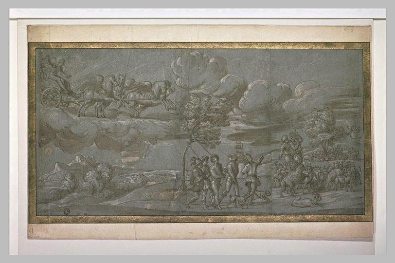 Char du soleil et Apollon ; départ pour la chasse ; bergers et troupeau
