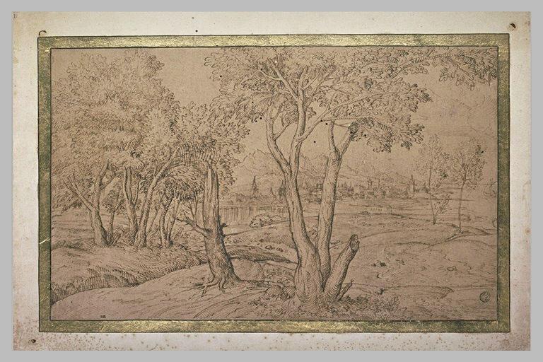 Paysage avec une ville au bord d'une riviere, bordée de quelques arbres