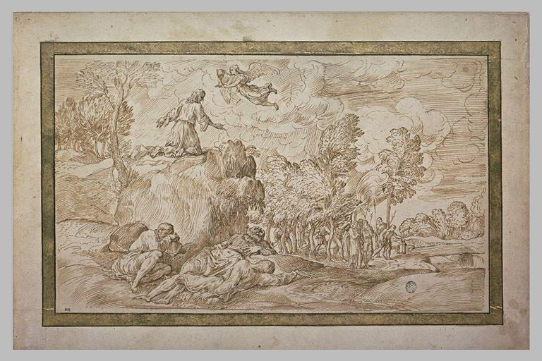 Un ange présente un calice à Jésus au Jardin des Oliviers