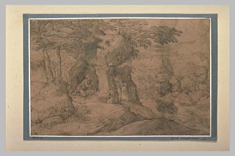Paysage avec saint Jérôme à genoux à l'entrée d'une grotte
