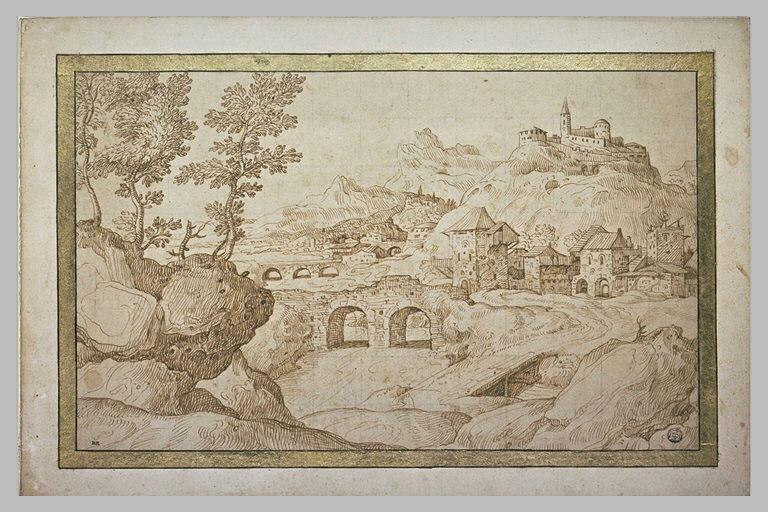 Paysage avec deux ponts, deux villages et une montagne_0