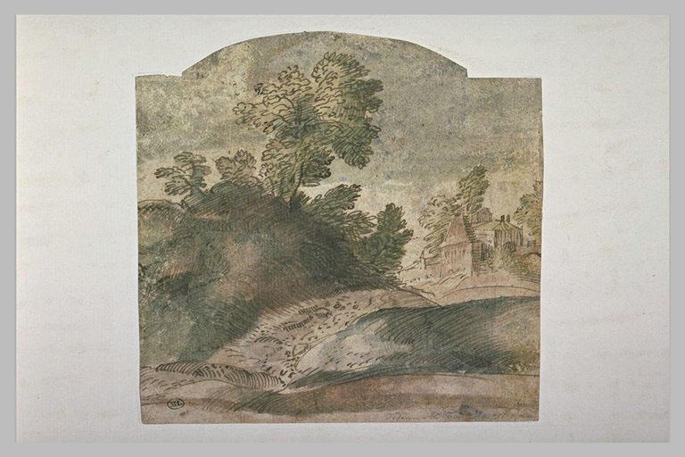 Paysage avec un talus surmonté d'arbres devant des maisons et un pont