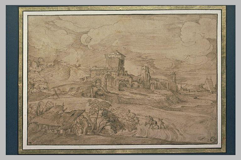 Paysage avec trois figures dans une cabane devant une ville fortifiée