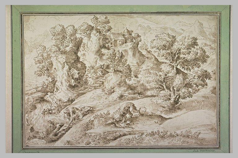 Paysage avec saint Jérôme en méditation et un lion dévorant un animal