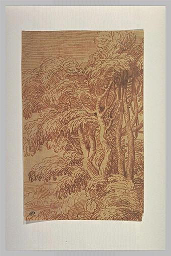 Paysage avec un bouquet d'arbres sur un tertre