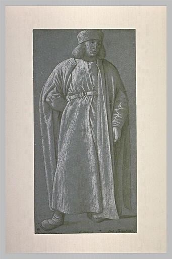 Homme debout, drapé, la main droite derrière le dos