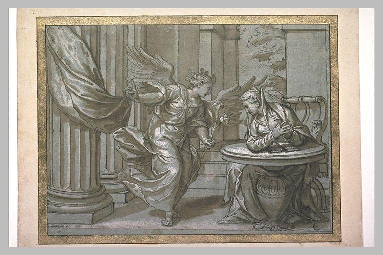 L'Annonciation : la Vierge est assise à droite devant une table et un livre