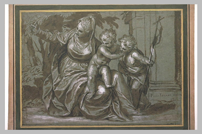 La Vierge assise soutenant l'Enfant Jésus qui joue avec saint Jean