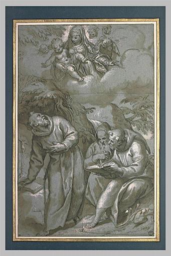 La Vierge et l'Enfant Jésus apparaissent à saint François, et deux moines