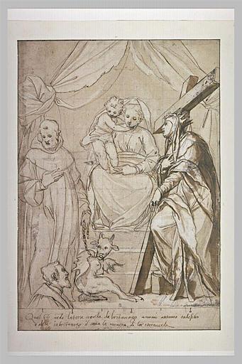 Vierge à l'Enfant avec sainte Hélène et un religieux tenant le Démon