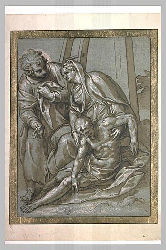 Le Christ mort au pied de la Croix, la Vierge et saint Jean