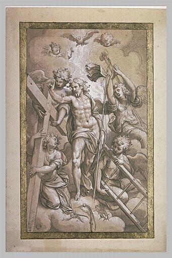 Le Christ ressuscité entouré d'anges tenant les instruments de la Passion