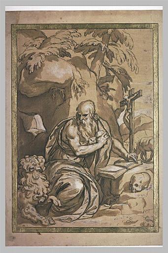 Saint Jérôme se frappe la poitrine avec une pierre