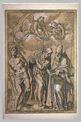 Trois anges couronnant saint Sébastien, saint Jacques et saint Favien
