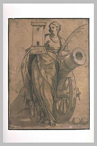 Sainte Barbe appuyée sur un canon, tenant une tour et une palme