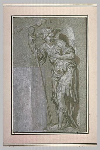 Mercure, debout, vu de face, appuyé sur son caducée