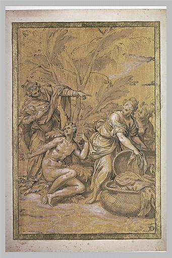 Ulysse nu découvert par Nausicaa et ses servantes sur l'île des Phéaciens