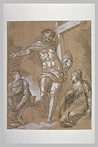 Le Christ portant la Croix entre deux allégories religieuses