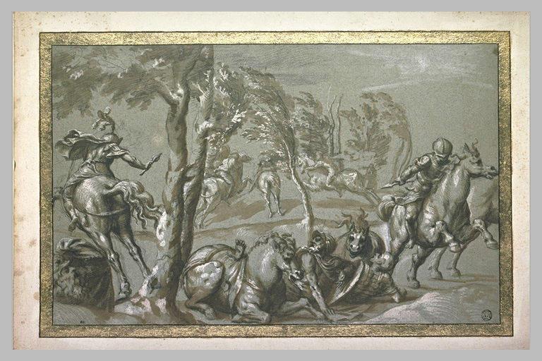 Des cavaliers dont deux renversés et une tête d'homme derrière un rocher