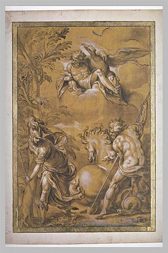Athéna plante un olivier, Poseidon fait jaillir un lac salé devant Zeus