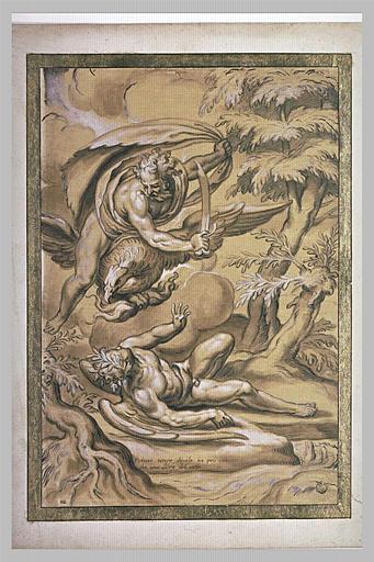 Jupiter sur son aigle coupe de son sabre un homme ailé : Primo Tempo diviso