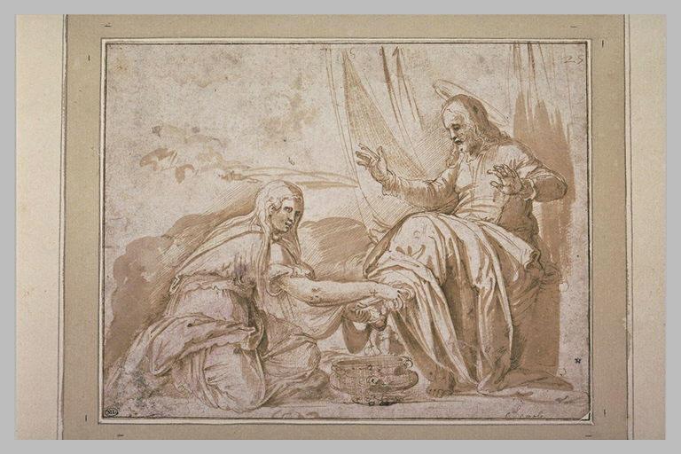 Marie Madeleine lavant les pieds du Christ