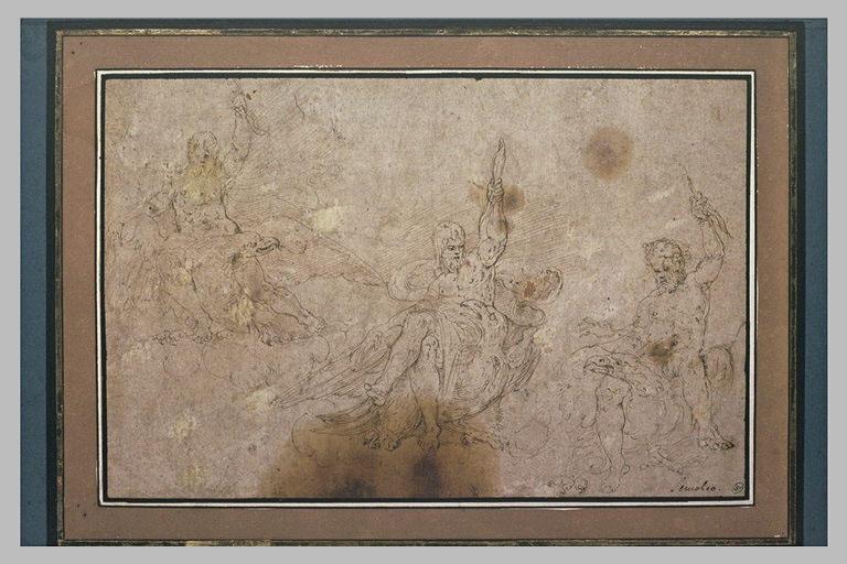 Trois études représentant Jupiter tenant la foudre et assis sur son aigle
