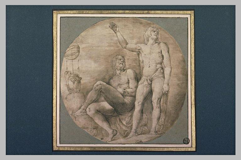 Hercule, debout près d'un homme nu, assis, enchainé