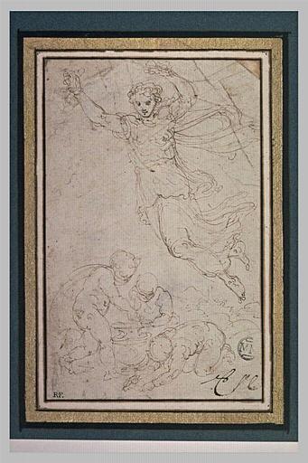 L'Aurore volant au-dessus de trois enfants s'affairant autour d'un vase
