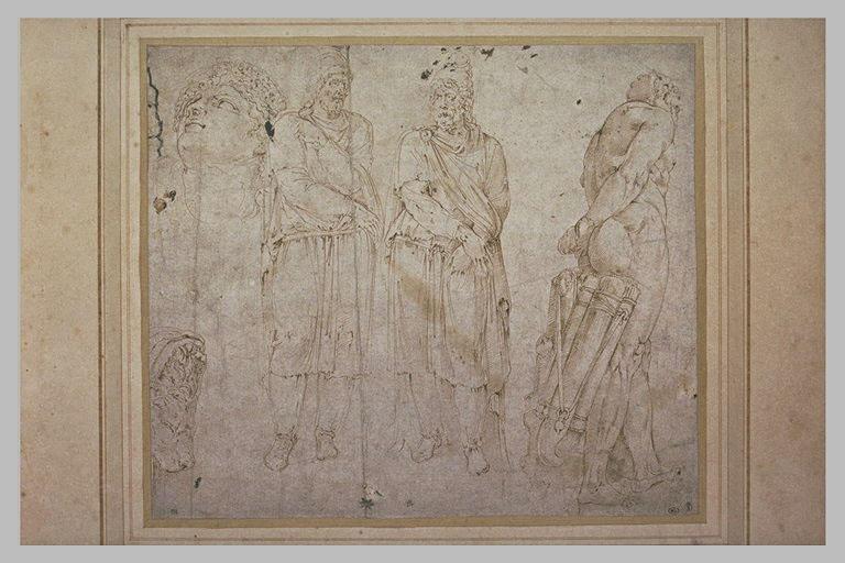 Etude de prisonniers Daces, de l'Hercule Farnèse et d'une tête d'homme