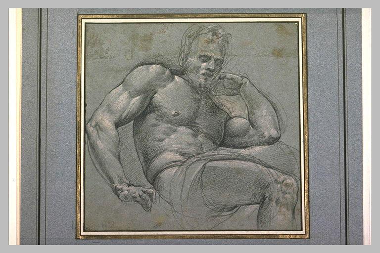 Etude d'homme assis, appuyé sur le coude gauche