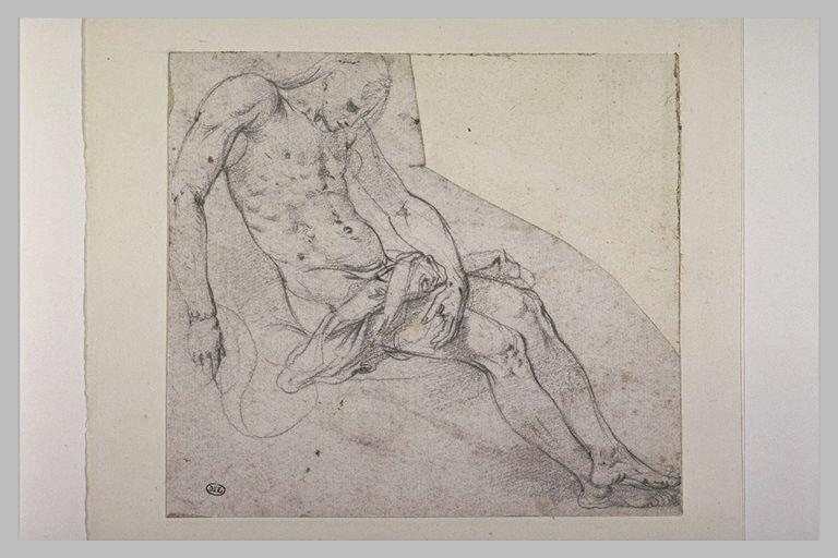 Un homme nu, à demi allongé, semblant mort et soutenu par les épaules_0