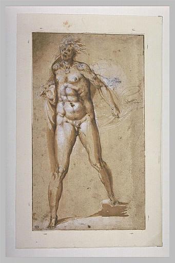 Un homme nu, debout, vu de face, s'élançant vers l'avant_0