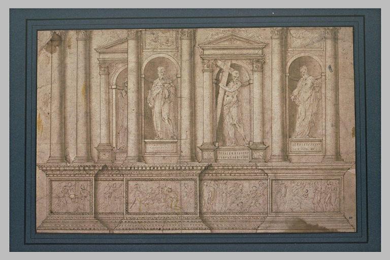 Bas-reliefs et quatre statues de saints