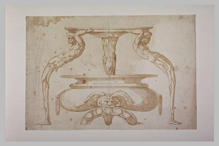 Etude de vase, et d'ornements avec trois termes coubés soutenant une vasque