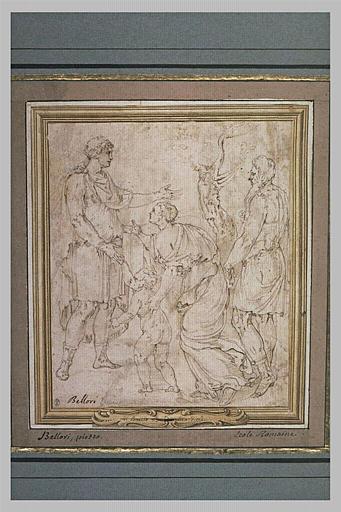 Femme avec son enfant  implorant la clémence d'un guerrier