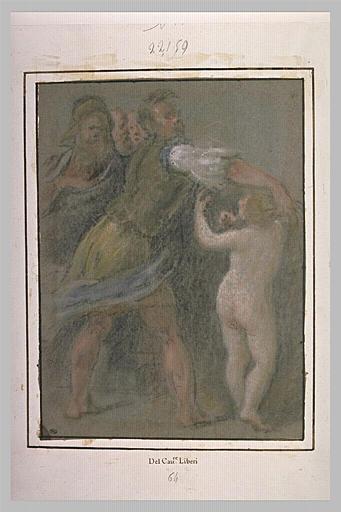Un homme tenant un enfant nu, debout, et trois autres figures
