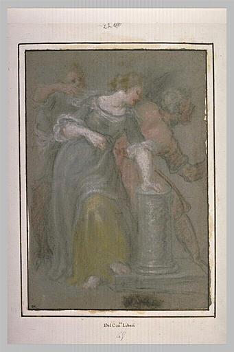 Une jeune femme appuyé sur une demi colonne et deux hommes